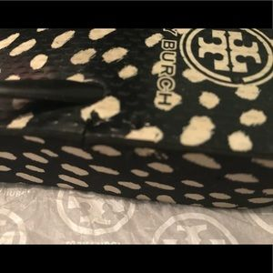 Tory Burch Shoes - Tory Burch black and white dotted wedge flip flops